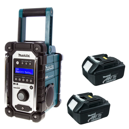 makita 18v lxt bmr104 job site radio with dab and 2 x bl1830 batteries ebay. Black Bedroom Furniture Sets. Home Design Ideas